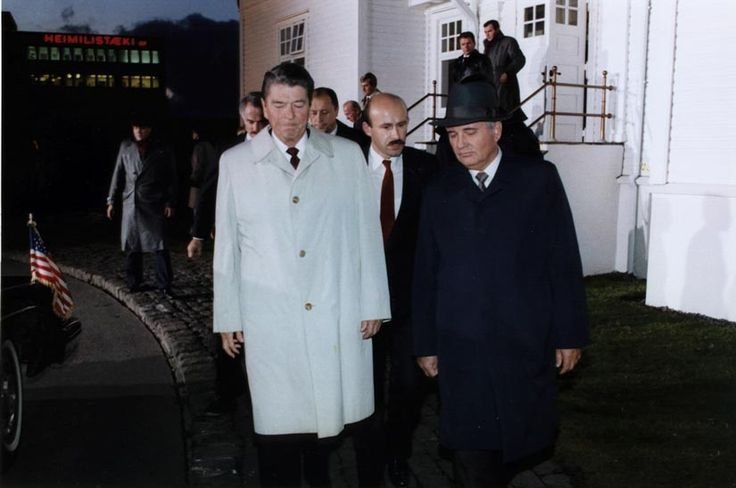 President Ronald Reagan of the U.S. and General Secretary Mikhail Gorbachev of the U.S.S.R. walk away from arms control negotiations without an agreement -- Reykjavik 1986 [825 x 548]