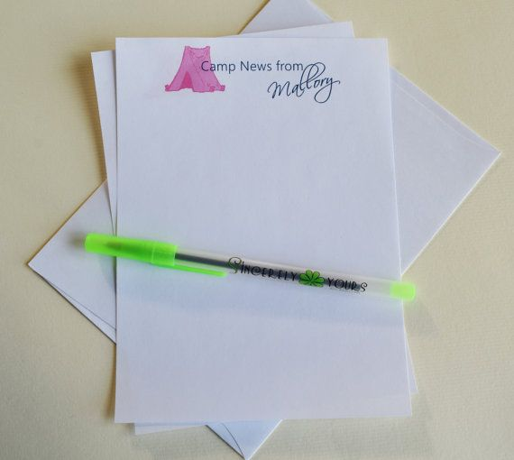 Summer Camp Stationery Personalized Camp by SincerelyYours123 #kidscamp #personalizedcampnotes #campstationery