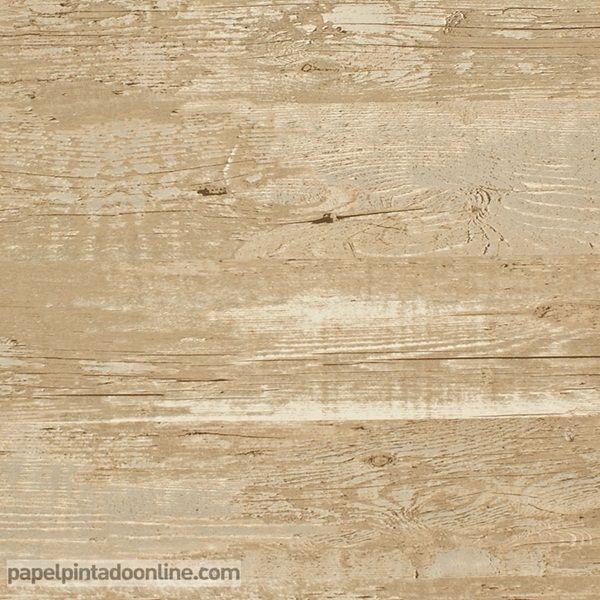 Papel Pintado Esseantially Yours 47531 madera desgastada con apariencia vintage en marrón claro.