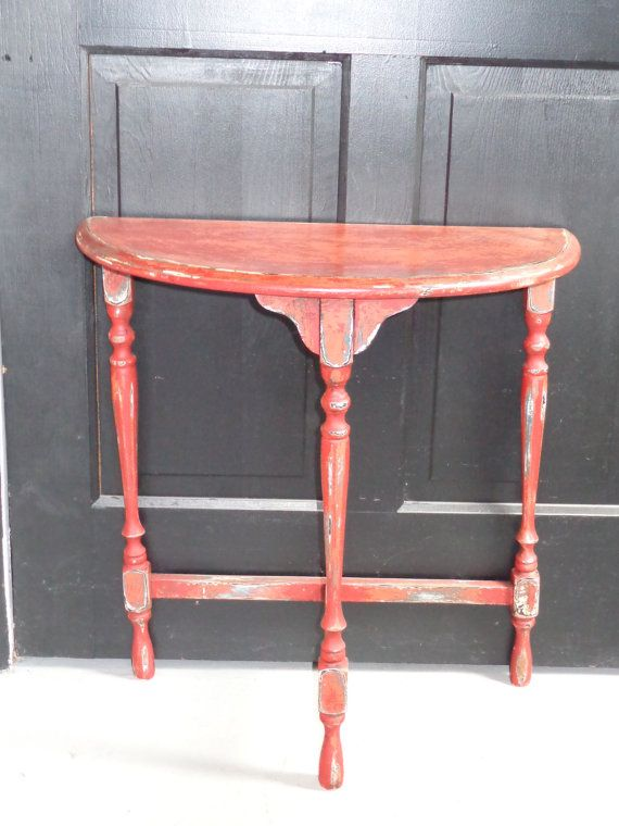 Primitive Antique Half moon Table finished by LesDelectablesHome, $35.00
