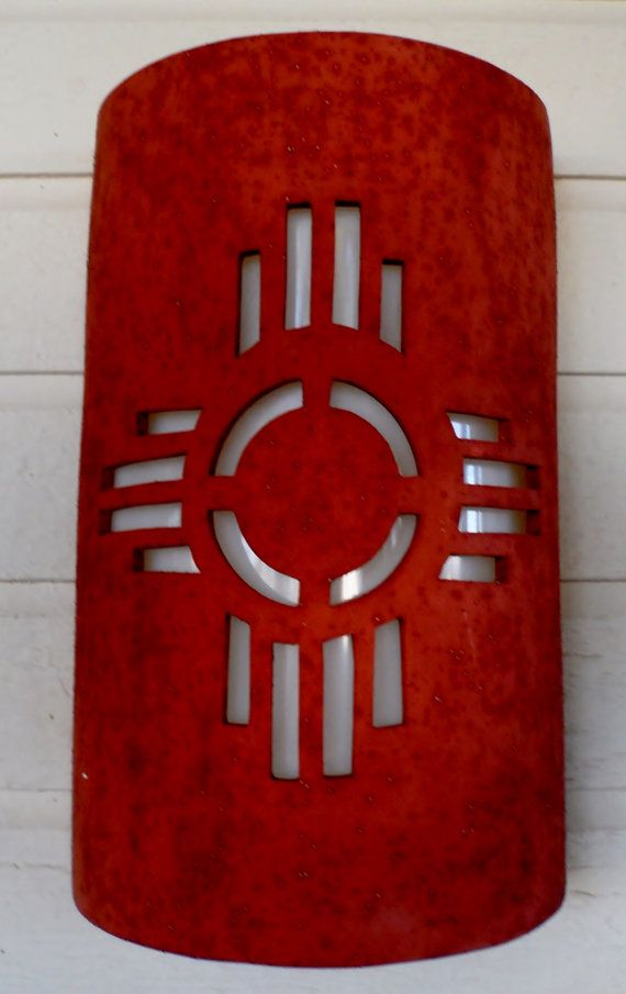 New Mexico Sun Symbol Outdoor Wall Sconce by CustomCutLighting