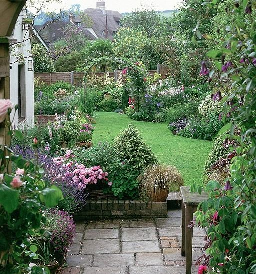 """Terrace and established borders. This is so nice... I've always loved an """"English Tea Garden Party"""" sort of yard."""