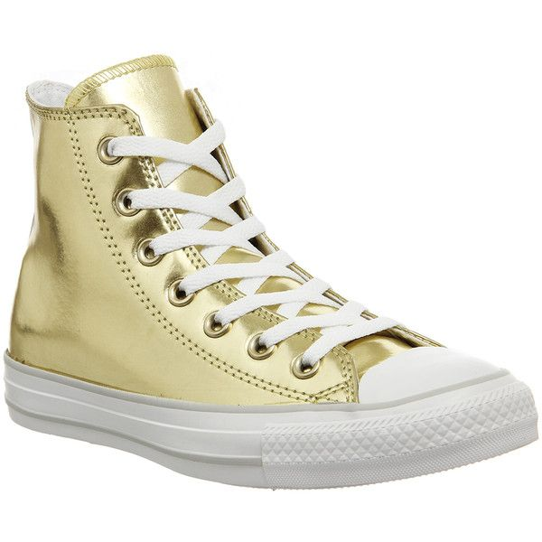 Converse All Star Hi ($89) ❤ liked on Polyvore featuring shoes, sneakers, liquid gold, trainers, unisex sports, converse trainers, gold sneakers, sporting shoes, star sneakers and converse sneakers