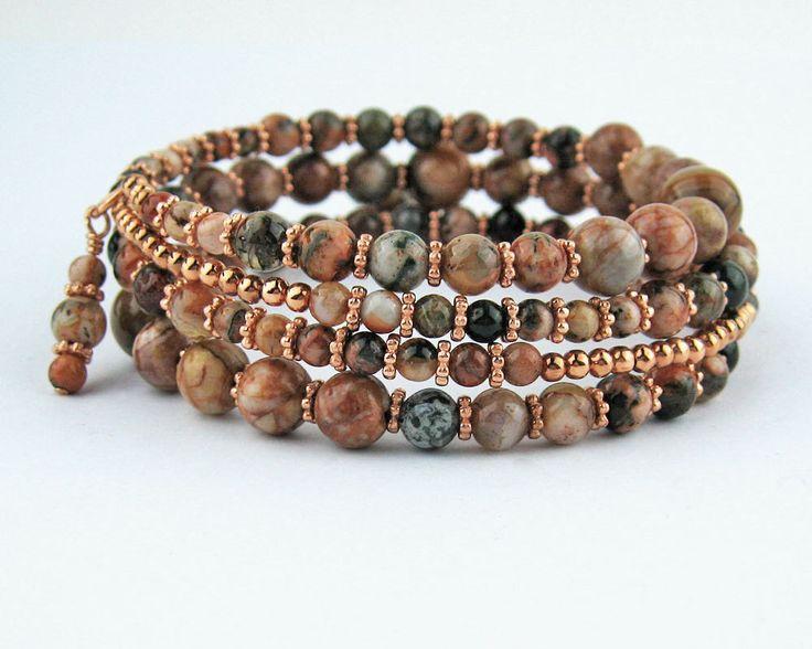 Wrap Bracelet, Landscape Jasper, Semi Precious Stones, Memory Wire Bracelet, Copper, Multi Wrap Bracelet, Handmade, Earthy Gemstones, Gift by TrishDesignsJewelry on Etsy https://www.etsy.com/listing/222066787/wrap-bracelet-landscape-jasper-semi
