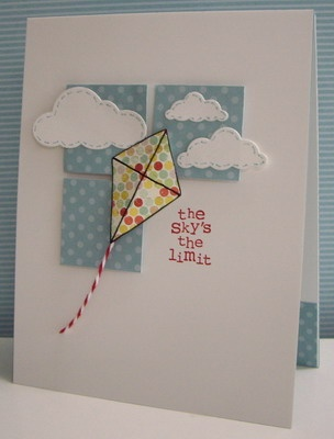 The Sky is the limit card, congratulations and good luck card with kite and clouds