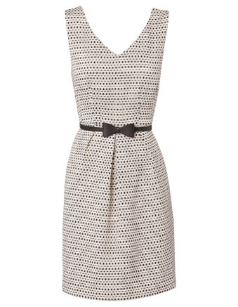 Hi There from Karen Walker Ivory/Black Textured V Neck Box Pleat Dress