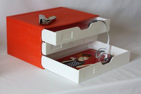 Bac à fichier bureau vintage orange avec tiroir- organiseur de bureau rétro France - porte document bureau - bac à courrier