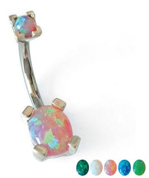16g-14g-12g Oval Opal Navel Belly Button Ring (CUSTOM MADE) :: Opal & Vintage Belly Rings :: Belly Rings :: Painful Pleasures, Inc.