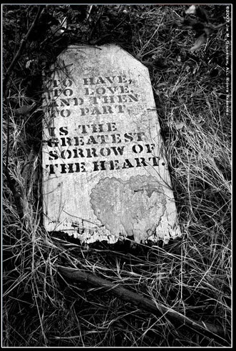 """Epitaph: """"To have, to love and then to part...Is the greatest sorrow of the heart""""."""