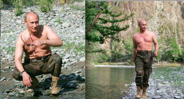 Always shirtless...   The 16 Most Homoerotic Photos Of Vladimir Putin