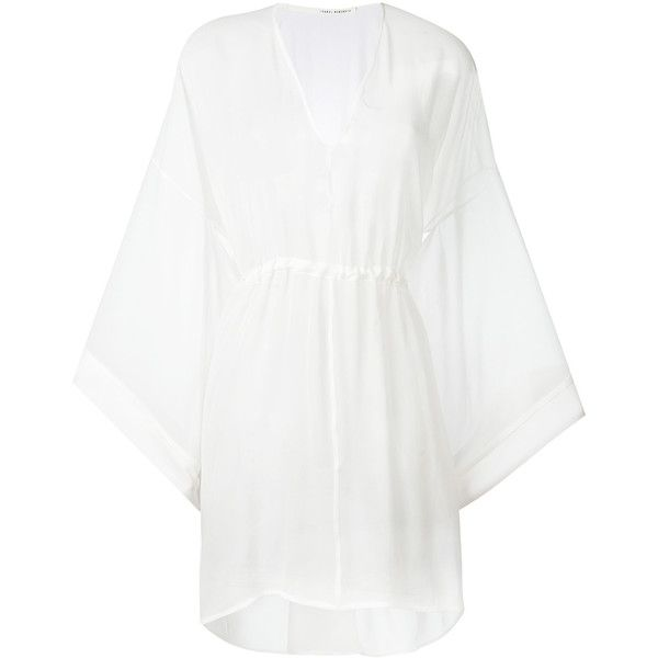 Isabel Benenato flared sleeves sheer dress (2.820 BRL) ❤ liked on Polyvore featuring dresses, white, white bell sleeve dress, white see through dress, silk dress, white silk dress and transparent dress