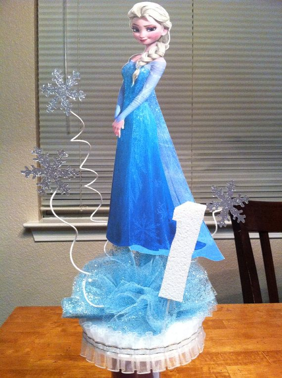 10% OFF Double sided Frozen Centerpiece with Base and Age Number on Etsy, $17.00