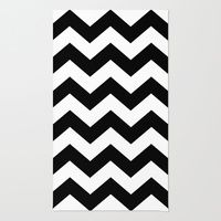 Area & Throw Rug featuring Black And White ZIG-ZAG by gypsykissphotography