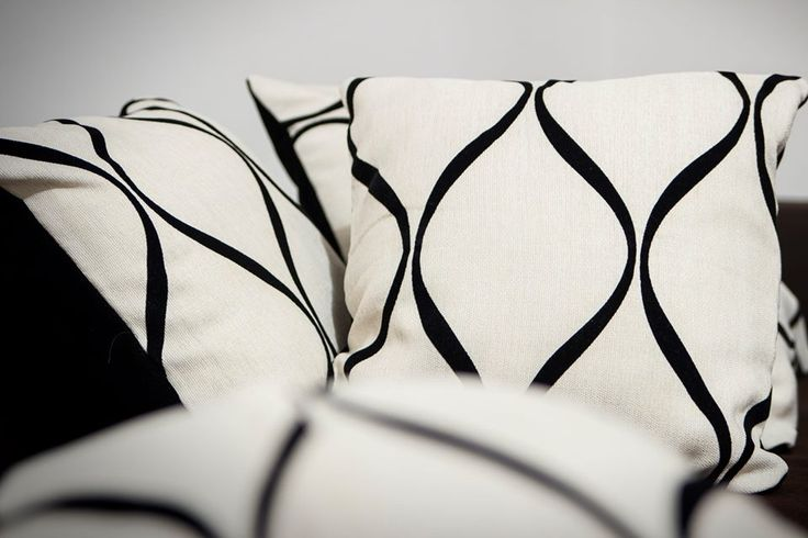 Handmade throw pillows. Cream-colored with black velvet pattern on one side and black velvet on the other. Materials: Cotton and velvet,   Pillows inserts included Made to order