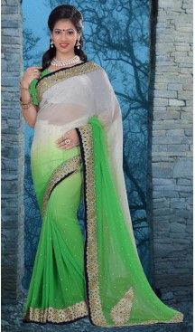 Traditional Style Designer Saree in Georgette Chrome Green Color | FH516078489 #party , #wear, #saree, #saris, #indian, #festive, #fashion, #online, #shopping, #designer, #usa, #henna, #boutique, #heenastyle, #style, #traditional, #wedding, #bridel, #casual, @heenastyle , #blouse, #prestiched, #readymade, #stitched , #Georgette , #embroidery