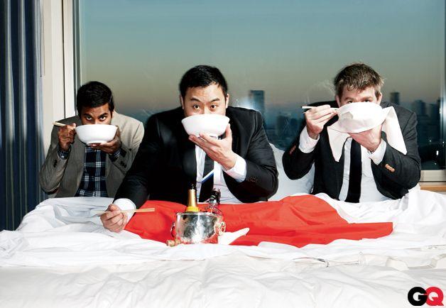 Aziz Ansari, top chef David Chang, and LCD Soundsystem's James Murphy- GQ eating.. momofuku?