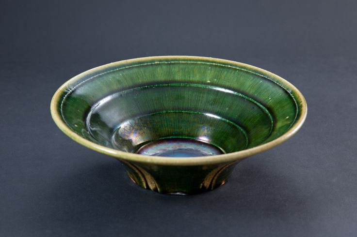 掛分織部刻文鉢 Bowl with engraved, Oribe type with amber glaze 2012