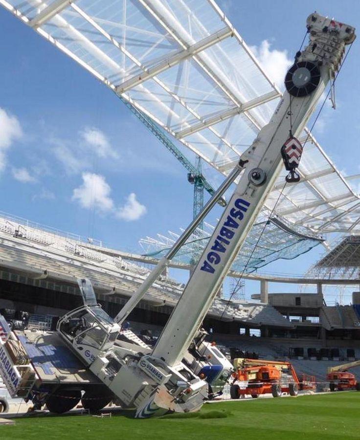 Crane Overturns Damages Football Pitch