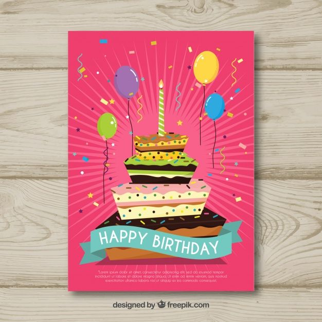 Flat birthday card with a cake #Free #Vector #illustration