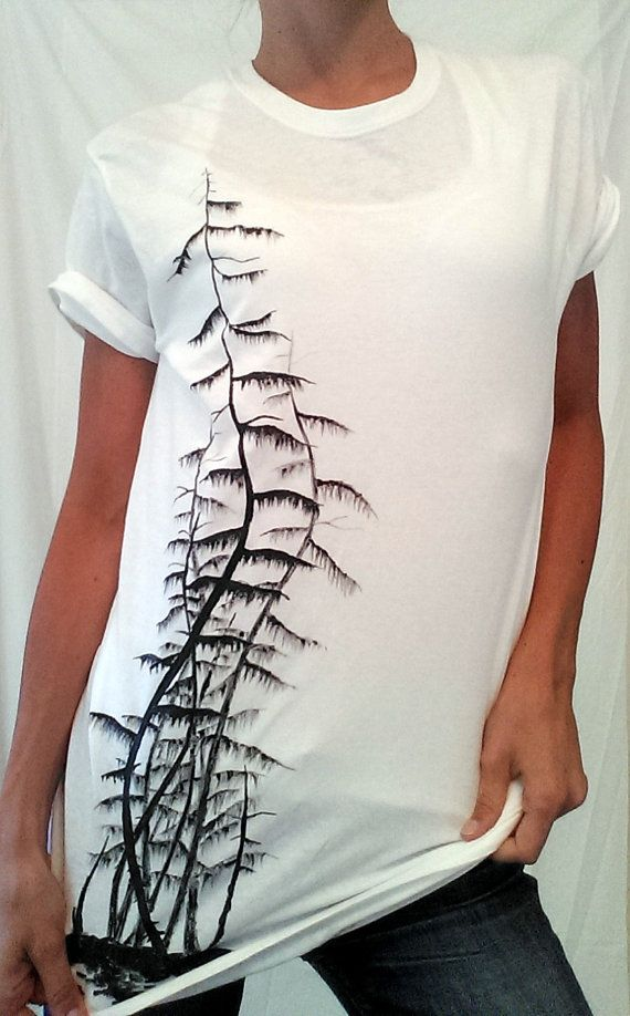 Creepy trees painting T-shirt hand painted available on ETSY