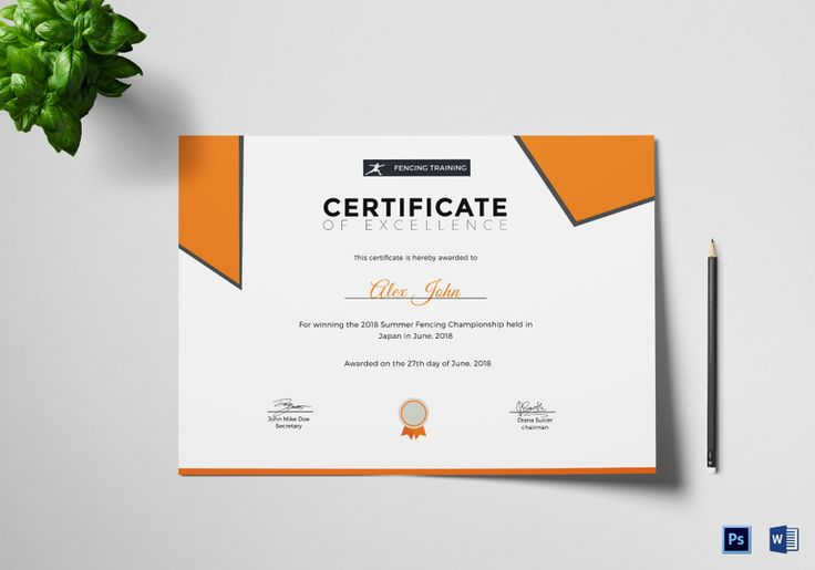 Fencing Excellence Certificate Template  $9.99  Formats Included : MS Word, Photoshop  File Size : 11.69x8.26 Inchs #Certificates #Certificatedesigns #Excellencecertificates