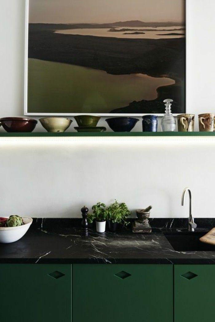 Arbeitsplatte Schwarzer Marmor Grün