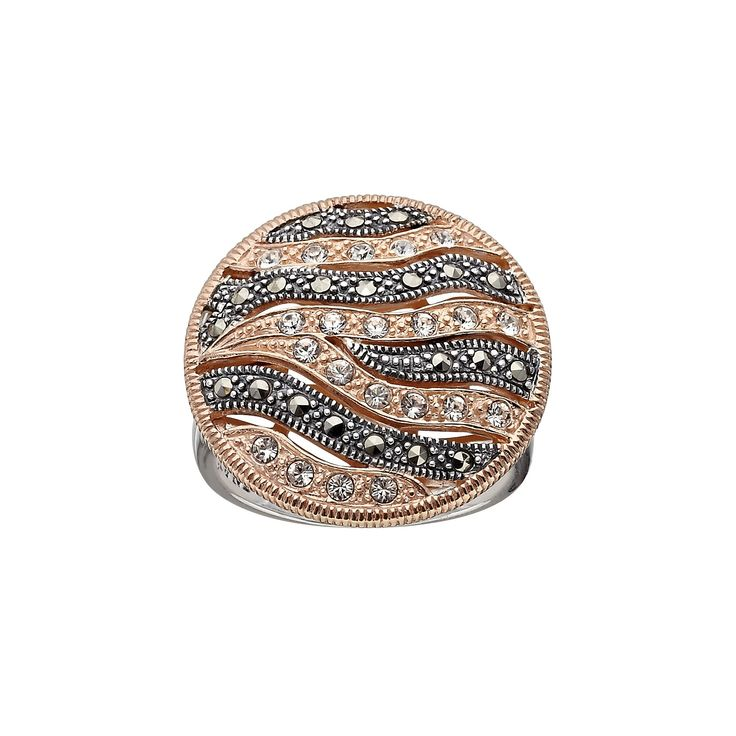 Lavish by TJM 14k Rose Gold Over Silver and Sterling Silver Crystal Striped Ring - Made with Swarovski Marcasite, Women's, Size: 6, Black