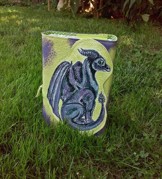 Dragon leather book cover, purple dragon genuine leather green book cover, patchwork renaissance book cover, fantasy book cover, watercolor