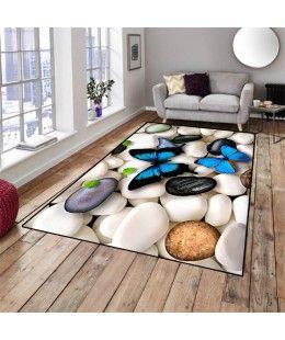 Kelebekli Mavi Taşlar Dekoratif Modern Salon Mutfak Halısı