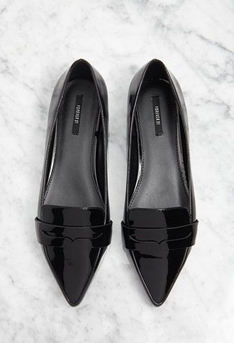 Pointed Faux Leather Loafers | Forever 21 - 2000095979 $22.90  I like them in Black and Rose