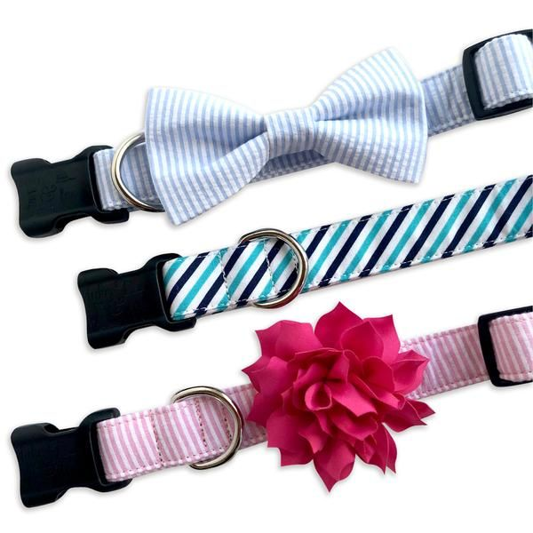 Personalized Dog Collars, Embroidered Dog Collars, Leashes, Dog Collar Bow Ties, Collar Flowers, Personalized Bandanas, Service Dog Gear