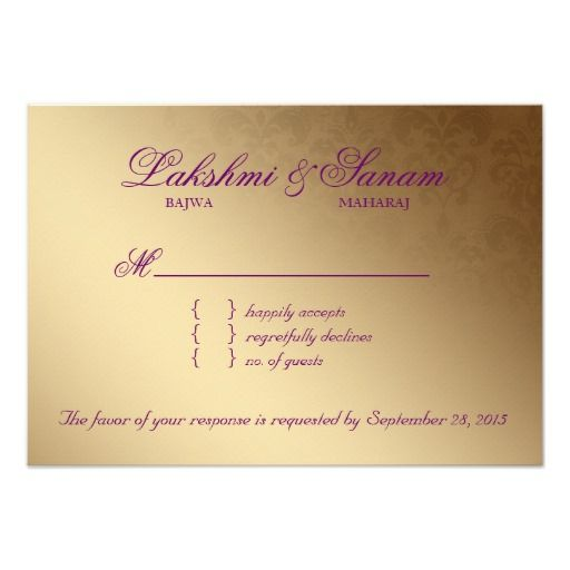 Indian RSVP Wedding Reply Card Damask Purple Gold Custom Announcements