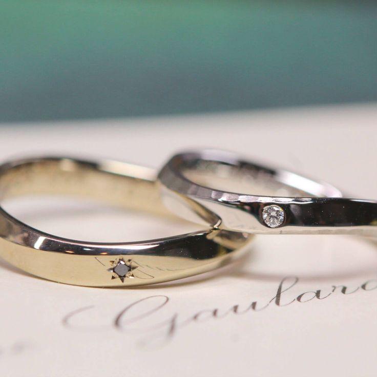 着け心地のよいS字のフォルム。お色違いでお仕立てしました。  [marriage,wedding,ring,bridal,K18,Pt900,マリッジリング,結婚指輪,オーダーメイド,ウエディング,ith,イズマリッジ]