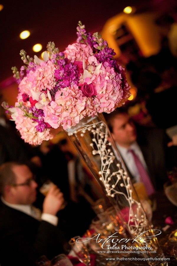 Tall Soft Pink Hydrangea Centerpiece in Glass Vase