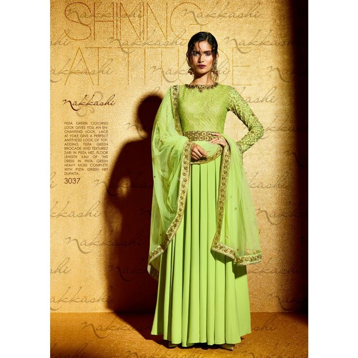 Green Georgette Indian #Anarkali Suits With Dupatta- $71.34