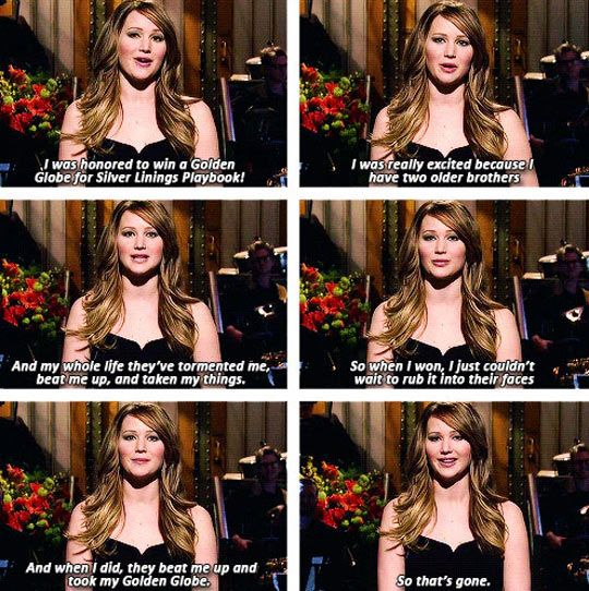 Jennifer Lawrence on winning the Golden Globe // funny pictures - funny photos - funny images - funny pics - funny quotes - #lol #humor #funnypictures