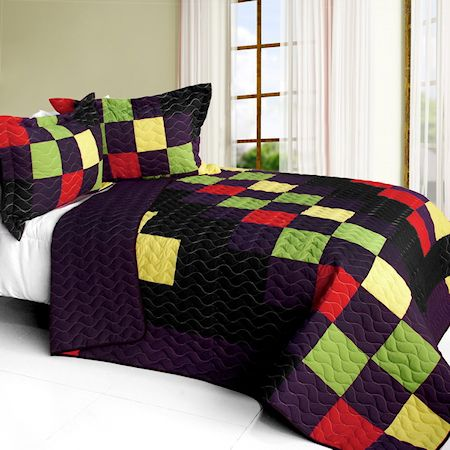 Minecraft Mosaic Teen Boy Bedding Full/Queen Quilt Set Patchwork Bedspread Purple Black Green