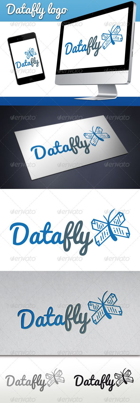 Logotype butterfly and letter b in different colour variants on a - Data Butterfly Logo
