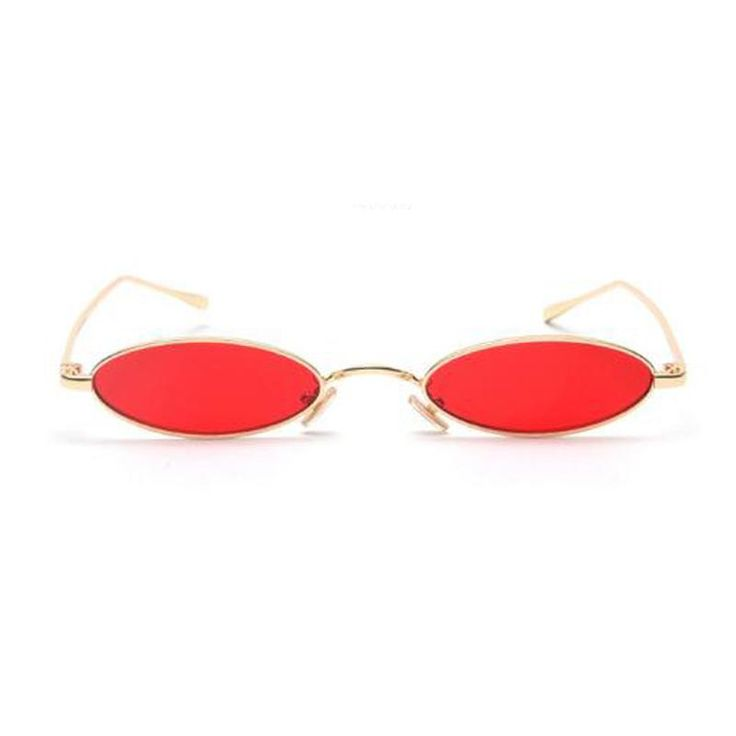 Small Oval Sunglasses for men Male retro Metal frame yellow red vintage small round sun glasses for women 2018