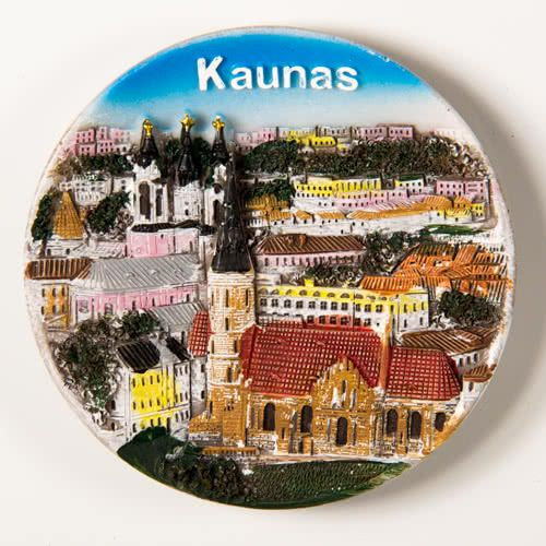 Resin Fridge Magnet: Lithuania. Kaunas View (Plate Shaped)