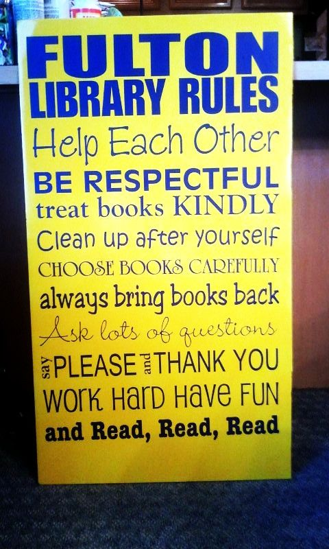 """We've seen this one around the web, but for """"family rules""""... we love this library's adaptation!"""