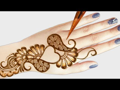 simple heart mehndi design