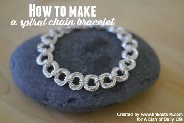spiral chain bracelet is stunning enough to wear anywhere.It's very eye catching & simple to make.You'll be amazed.