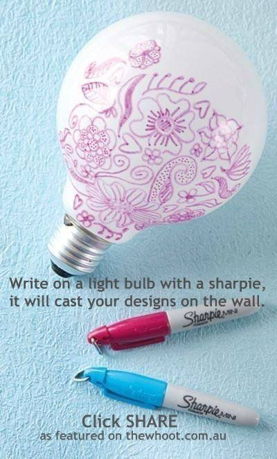 Making patterns on the walls by writing on light bulbs