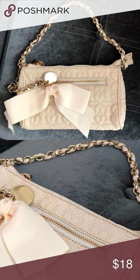 Cream leather evening bag Heart pattern stitching with gold and bow details Deux Lux Bags