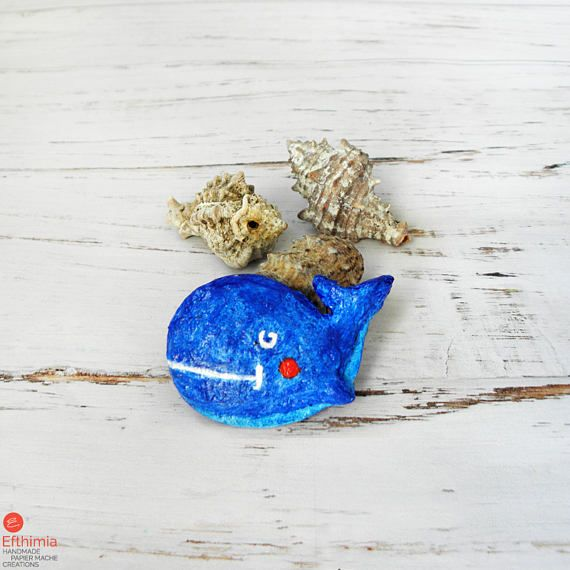 Blue Whale Brooch Paper Mache Brooch Blue Whale Pin Animal