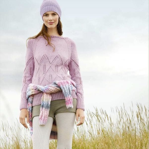 Jumper/ Pullover with Lace Knit Pattern in Masari - Rebecca Knit Kit – I Wool Knit