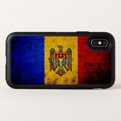 Black Grunge Moldova Flag OtterBox Symmetry iPhone X Case - wood gifts ideas diy cyo natural