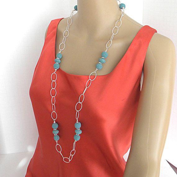 Long blue necklace for women blue gemstone necklace by PrettyMeDbD