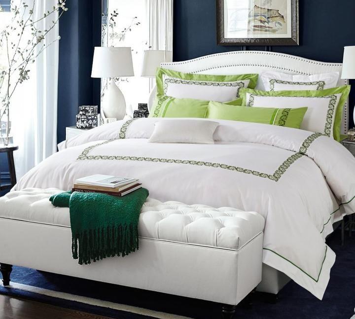 Hotel Bedding Luxury Bedding Sets Green Duvet Cover Sets Bed Sheet  Bedclothes #1489|Hotel